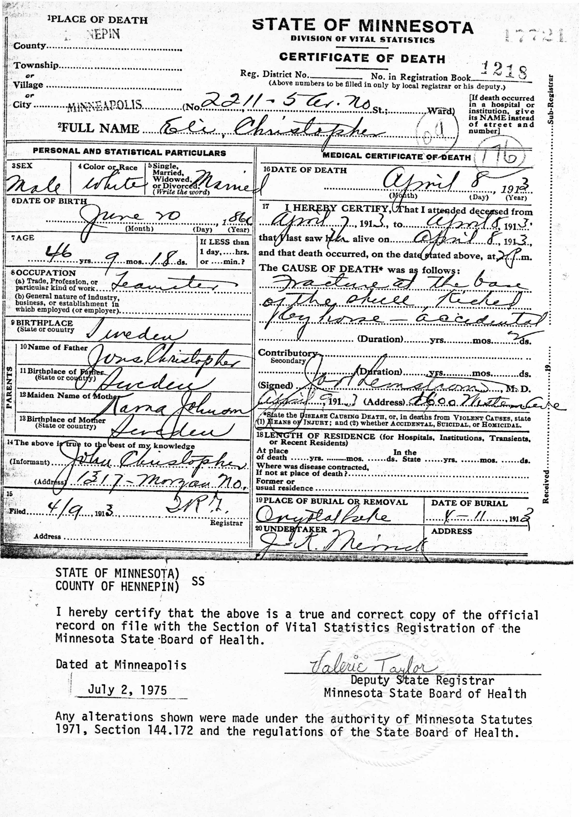 Minnesota birth certificate sample image collections certificate sources certificate of death eli christopher 08 apr 1913 minneapolis hennepin co mn certificate 17721 registration aiddatafo Choice Image