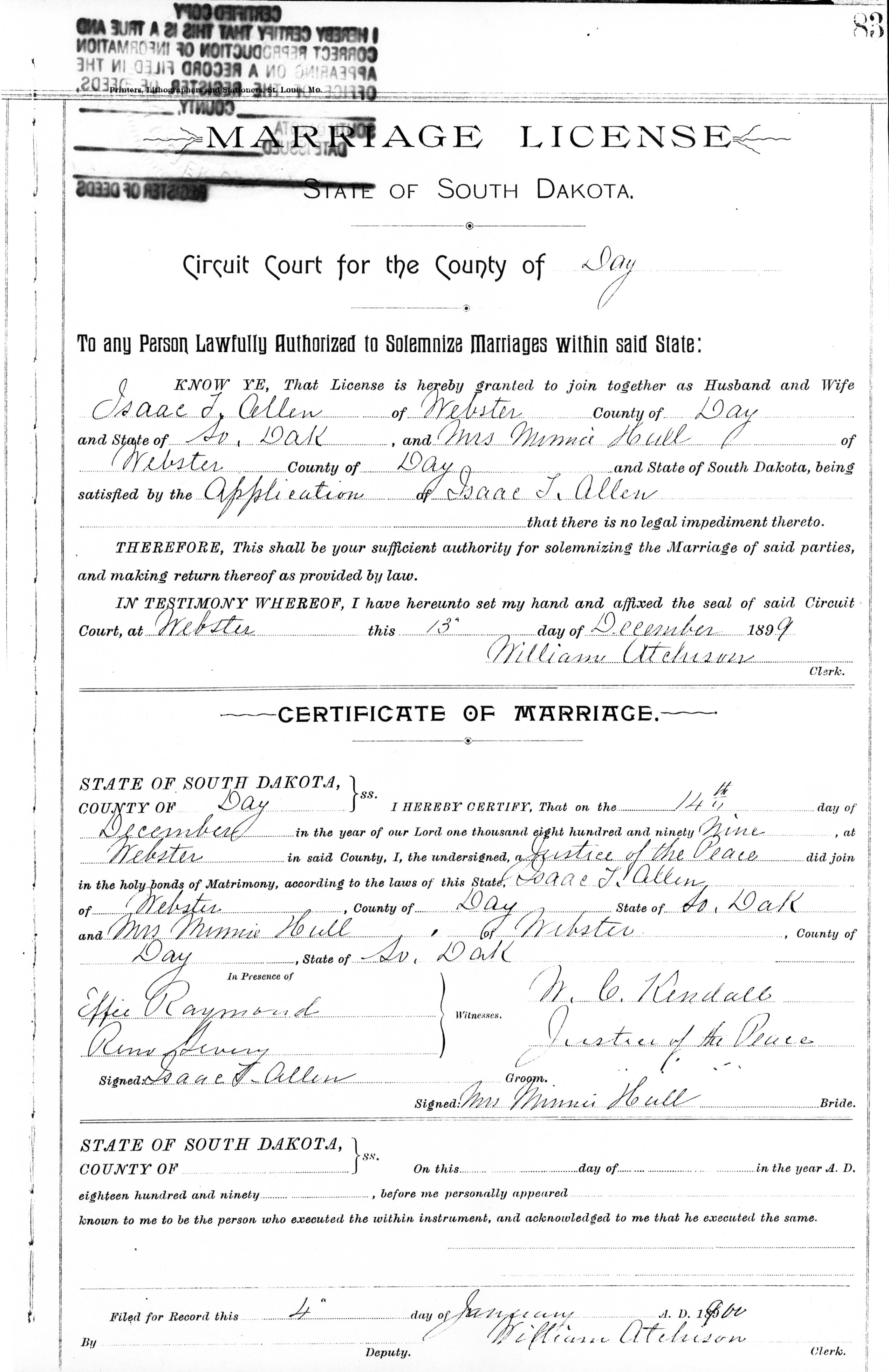 Sources license dated 13 dec 1899 certificate portion dated 14 dec 1899 webster day co sd certified copy issued 25 nov 1991 register of deeds webster 1betcityfo Gallery