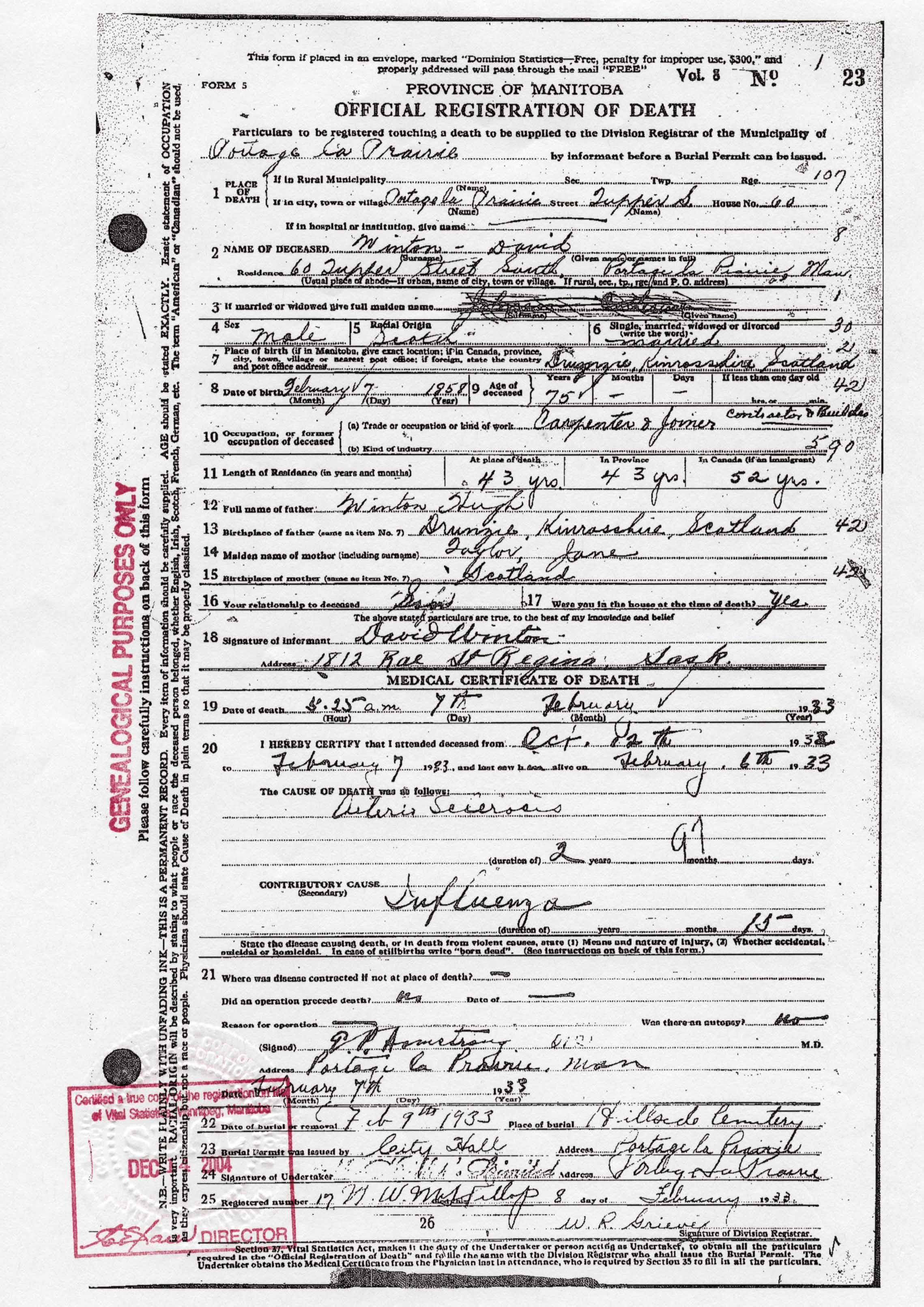 Sources official registration of death david winton 7 feb 1933 portage la prairie manitoba canada vol8 no23 informant david winton son aiddatafo Image collections